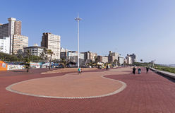Paved Promenade with Durban Hotels in Background royalty free stock images