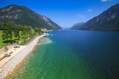 Paved public walk along the Achensee (Lake Achen) Royalty Free Stock Images