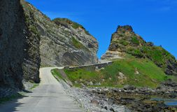 Paved Road. Alapad rock formation of batanes island Royalty Free Stock Image