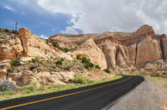 Paved road in Capitol Reef National Park. USA Stock Photo