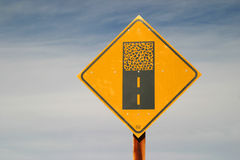 Paved Road Ends Ahead Sign Royalty Free Stock Photography
