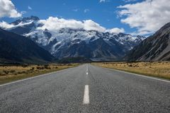 Glaciers hanging over the road to Mt Cook Village Stock Images
