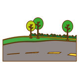 Paved road with trees on the roadside icon image Stock Image