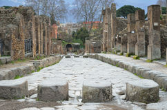 Paved street in the ancient city-town Pompeii Stock Photo