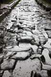 Paved street at the ancient Roman city of Pompei Stock Photos