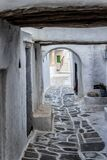 Paved street in the medieval city Kastro, Sifnos