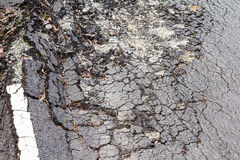 Paved surface subsidence Royalty Free Stock Images