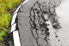 Paved surface to collapse Stock Image