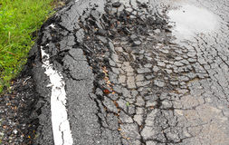 Paved surface to collapse Stock Images