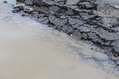 Paved surface water Royalty Free Stock Photo