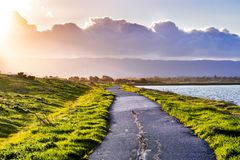 Paved trail illuminated by the evening sunlight on the shoreline of south San Francisco bay area, Mountain View, California royalty free stock photography