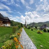 Paved trail inside courtyard of Maramures monastery Stock Images