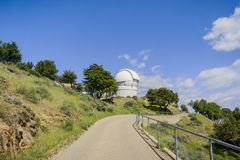 Paved trail leading to the Observatories on top of Mt Hamilton, San Francisco bay area, California stock images