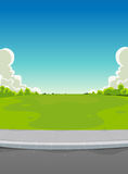 Pavement And Green Park Background Royalty Free Stock Images