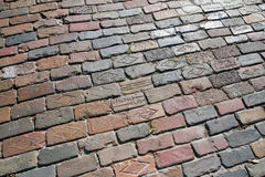 Pavement of brics in old town center Tampa city, at Centro Ybor Royalty Free Stock Photos