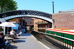 Pavement cafe alongside canal, Birmingham. Stock Photo