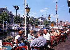Pavement cafe, Amsterdam. Royalty Free Stock Photography