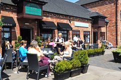 Pavement cafe, Barton Marina. Royalty Free Stock Image