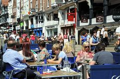 Pavement cafe, Chester. Royalty Free Stock Photo