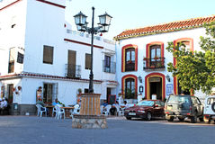 Pavement cafe in Comares town square. Stock Image