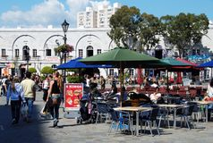 Pavement cafe, Gibraltar. Royalty Free Stock Image
