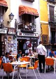 Pavement cafe in Plaza Mayor, Cuenca. Royalty Free Stock Images