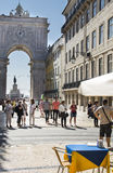 Pavement Cafe in Rua Augusta Lisbon Royalty Free Stock Image