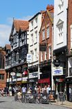 Pavement cafe and shops, Chester. Stock Images