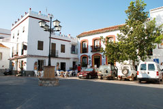 Pavement cafe in town square, Comares. Stock Photography