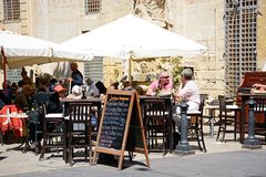 Pavement Cafe, Valletta. Royalty Free Stock Images