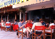 Pavement cafes, Positano, Italy. Royalty Free Stock Image