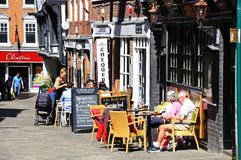 Pavement cafes, Shrewsbury. Royalty Free Stock Photo