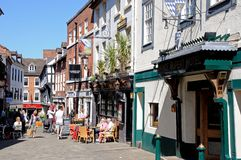 Pavement cafes, Shrewsbury. Royalty Free Stock Photography