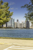 Pavement and Chicago downtown as background on sunny fall day Royalty Free Stock Photos