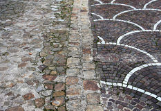 Pavement with cobblestones, different kinds Stock Photos