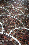 Pavement with cobblestones, perspective Royalty Free Stock Images