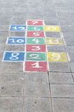 Pavement drawing. Weekdays drawing on schools sidewalk Stock Images