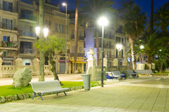Pavement embankment in  night. Sitges, Spain Royalty Free Stock Images