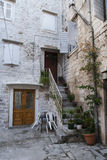 Pavement end narrow streets and courtyards of Trogir,Croatia Royalty Free Stock Photo