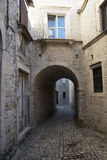 Pavement end narrow streets and courtyards of Trogir,Croatia Royalty Free Stock Photography