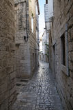 Pavement end narrow streets and courtyards of Trogir,Croatia Stock Photo