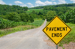 Pavement Ends Sign Stock Photo