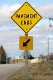 Pavement Ends Sign royalty free stock photos