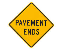 Pavement ends warning road sign Stock Photos