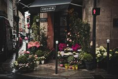 Pavement flower stall on city street Royalty Free Stock Image