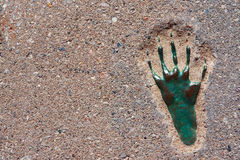 Pavement with footprint, background, texture Stock Image