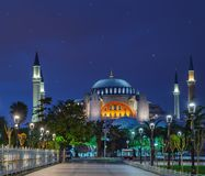 Pavement in front of the Aya Sofia at night. Aya Sofia Mosque and the pavement in front of it under the starry sky. Istanbul, Turkey.r royalty free stock image