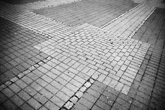 Pavement geometry. Artistic look in black and white. Royalty Free Stock Photo