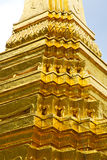 Pavement gold    temple   in   bangkok  thailand incision of  t Stock Images