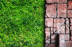 Pavement and grass Royalty Free Stock Photo